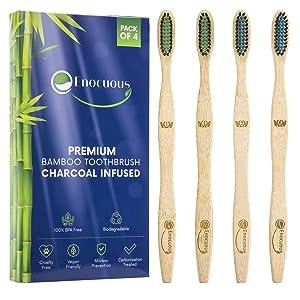 Enocuous Premium Biodegradable Bamboo Toothbrushes, Charcoal Infused, 100% BPA Free, Vegan friendly, Eco-Friendly, Cruelty-Free, Compostable, Bamboo (Medium Bristle)