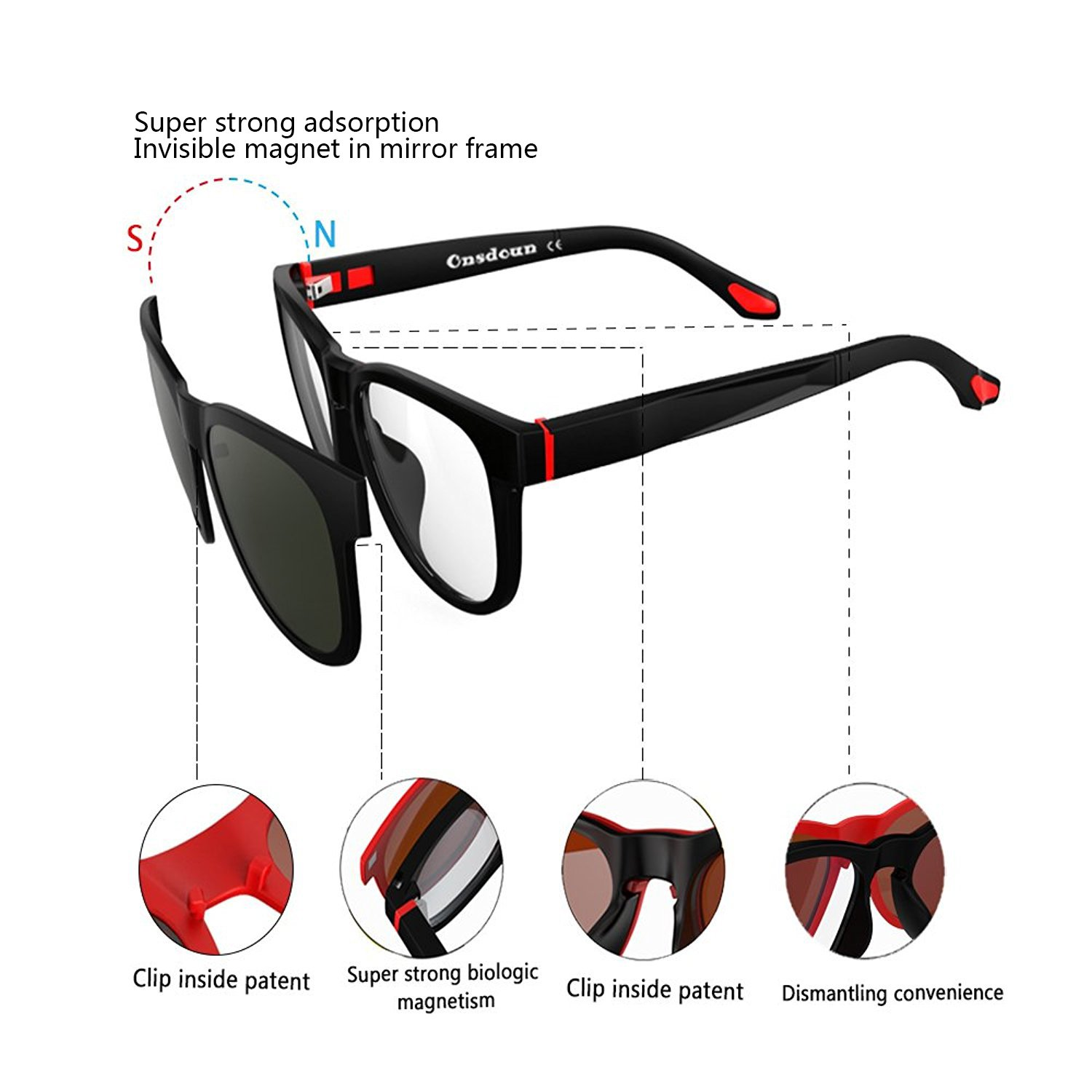 4ecca1527c89 Amazon.com  Magnetic Polarized 4Pcs Clip-on Lens Glasses Shade Sunglasses  Night Vision Driving  Clothing