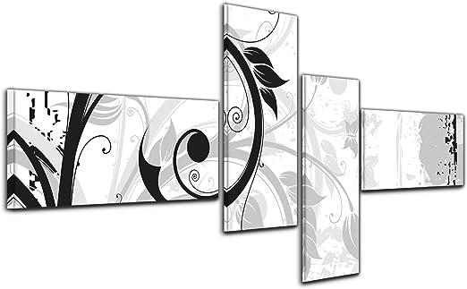 Bilderdepot24 Cuadros en Lienzo - Arte abstracto Abstracto 33a blanco y negro - 140x65cm 4 piezas - listo tensa, directamente desde el fabricante: Amazon.es: Hogar
