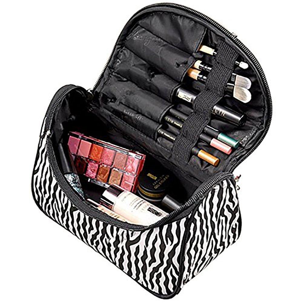 Lumanuby 1X Sac Cosmétique Trousse à Maquillage Rayons de zèbre Multifonctionnel Trousse de Maquillage Portable Organisateur Rangement Sac Bag Noir