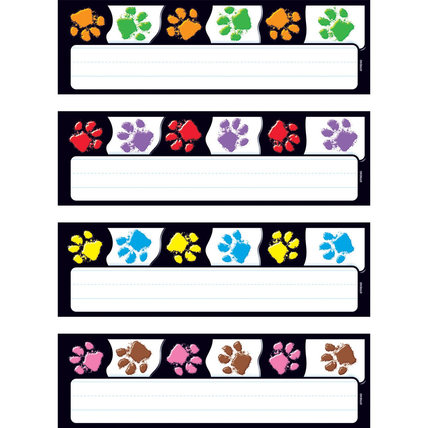 32 Piece 2-7//8 x 9-1//2 Trend Enterprises Paw Prints Desk Toppers Name Plates Variety Pack