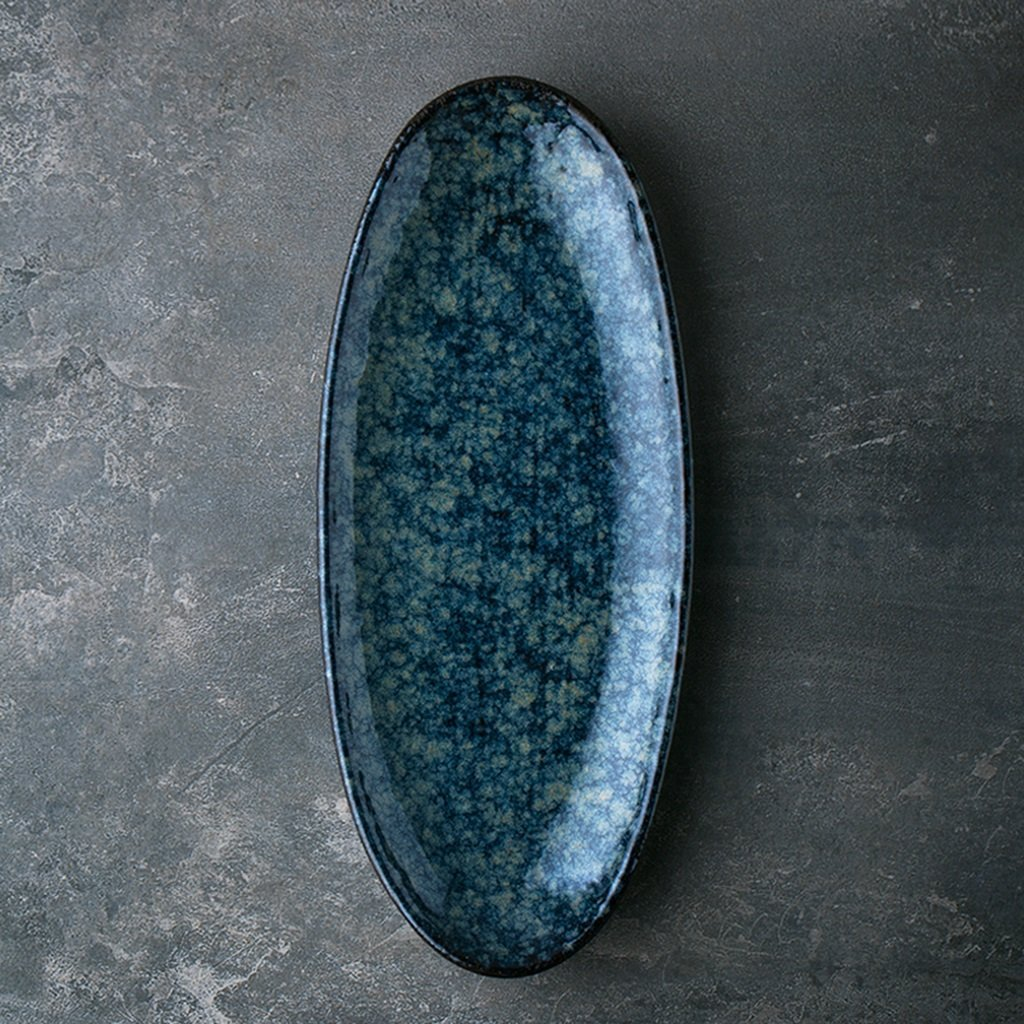 He Xiang Ya Shop Fruit Plate Home Ceramic Sushi Plate Blue Snack Plate Dish Plate Long Strip Plate by He Xiang Ya Shop (Image #7)