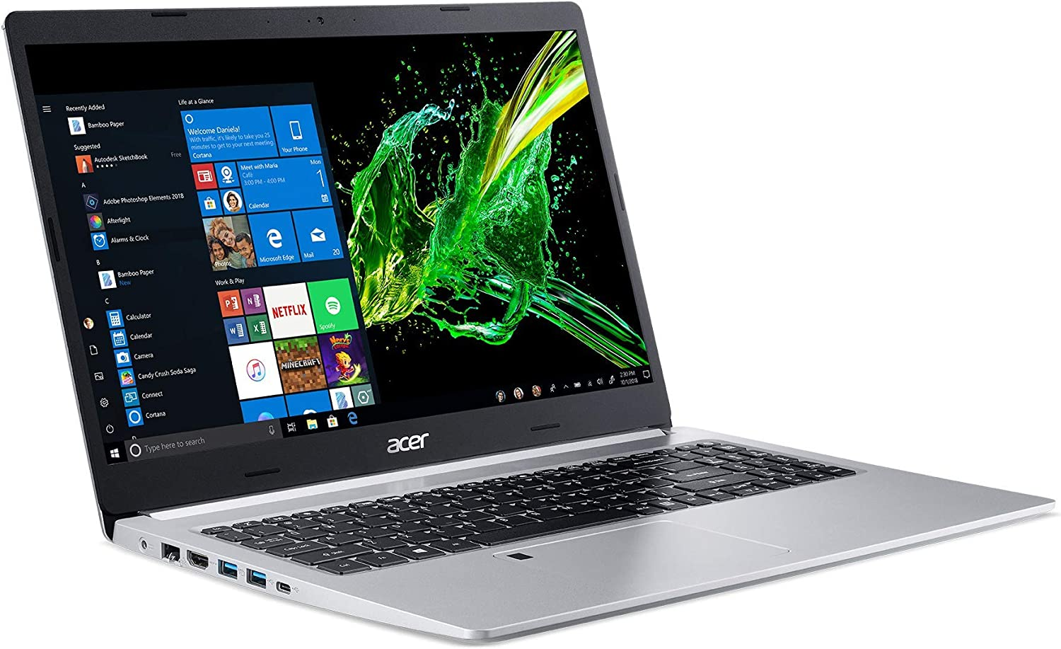 Acer Aspire 5 Slim Laptop, 15.6 Inches FHD IPS Display, 8th Gen Intel Core i5-8265U, 8GB DDR4, 256GB SSD, Fingerprint Reader, Windows 10 Home, A515-54-51DJ (Renewed)