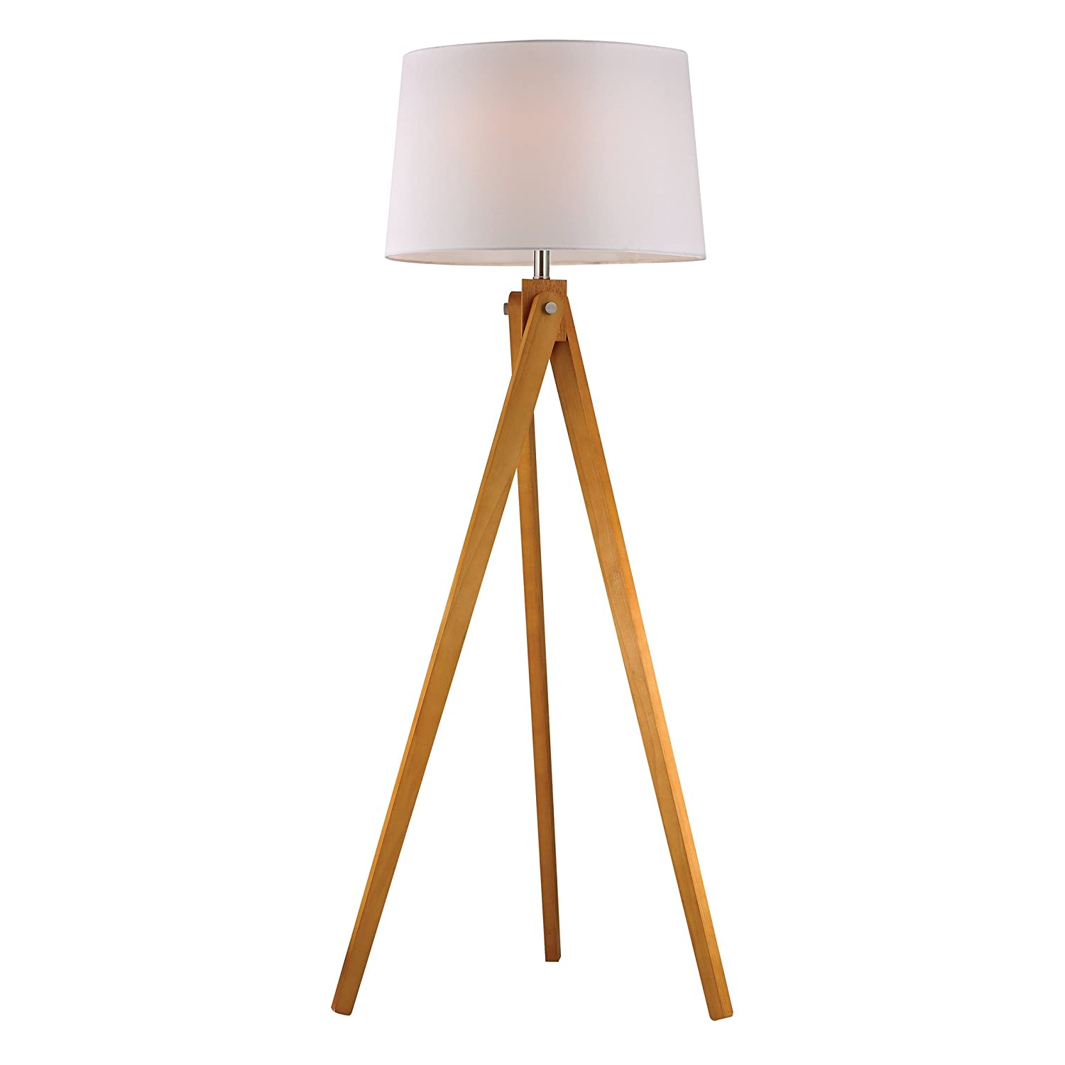 Dimond Lighting D2469 Wooden Tripod Floor Lamp, Natural Wood Tone ...
