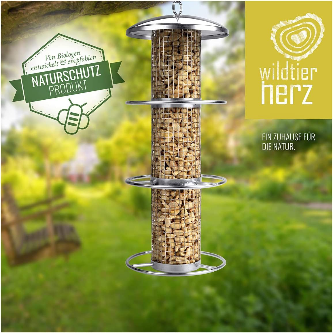 Feeding Station for All Year Round Feeding Wild Birds for Birds with Stainless Steel Grids and Approach Rings Wild Animal Heart Feeder for Bird Feeder Nut Feeder 35cm