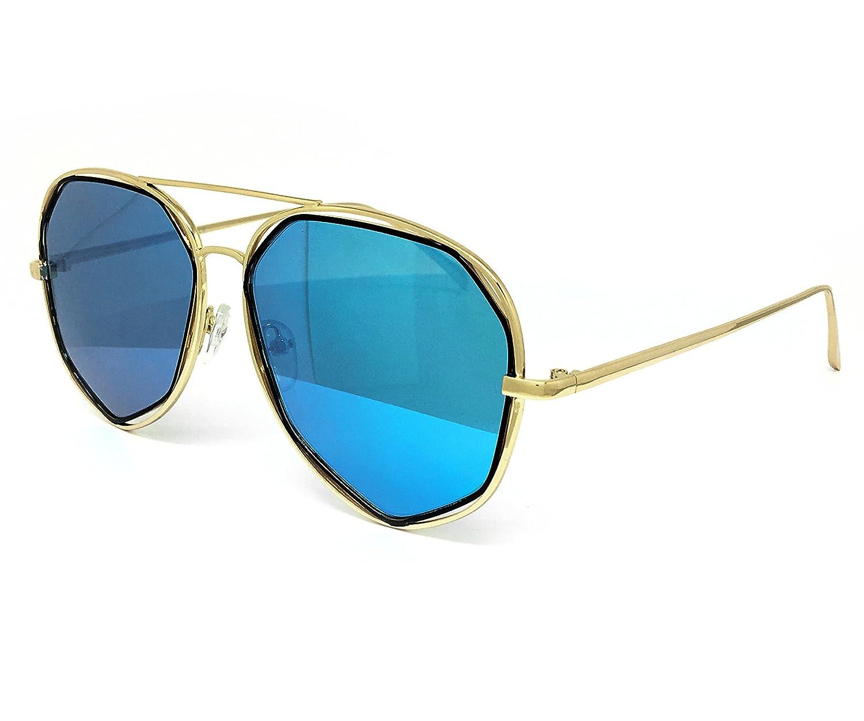 e980452b0980a O2 Eyewear 6554 Premium Retro Womens Mens Mirror Funky Fashion Geometric  Revo Candy Flat Top Aviator Sunglasses (Premium  Amazon.in  Clothing    Accessories