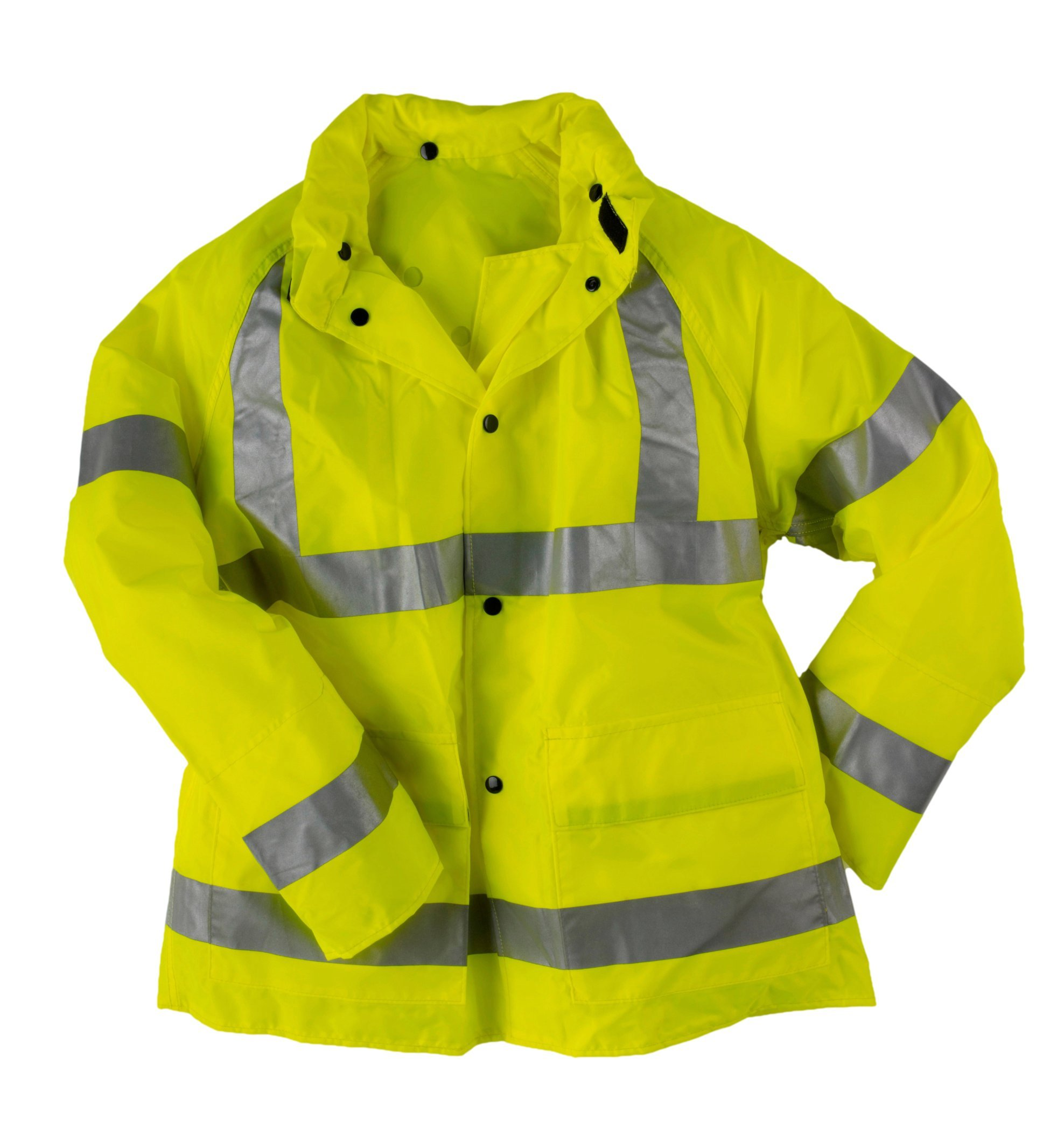 Neese Telcom 7002AJ Polyurethane/Nylon High Visibility Jacket with Attached Tuck-Away Hood, Extra Large, Lime