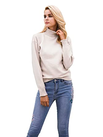 eb0d0fcabf1de0 Simplee Women s Casual Elastic High Neck Pullover Sweater Knit Jumper  Top