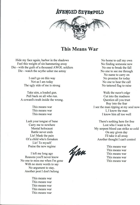 Brooks Wackerman Signed Avenged Sevenfold This Means War Song Lyric Sheet Coa At Amazon S Entertainment Collectibles Store
