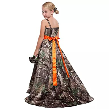 109303cd1b6 Amazon.com  enjoybeauty Camo Flower Girls Dresses Spaghetti Country Junior Bridesmaid  Dresses Floor Length  Clothing