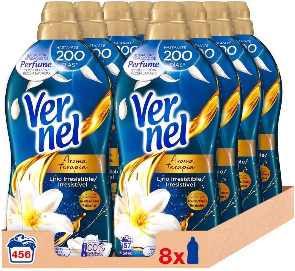 Vernel Suavizante Lavadora Aromaterapia Aceite de Jazmín y Lirio 57 Dosis - Pack de 8: Total 456 Lavados (10.4 L)