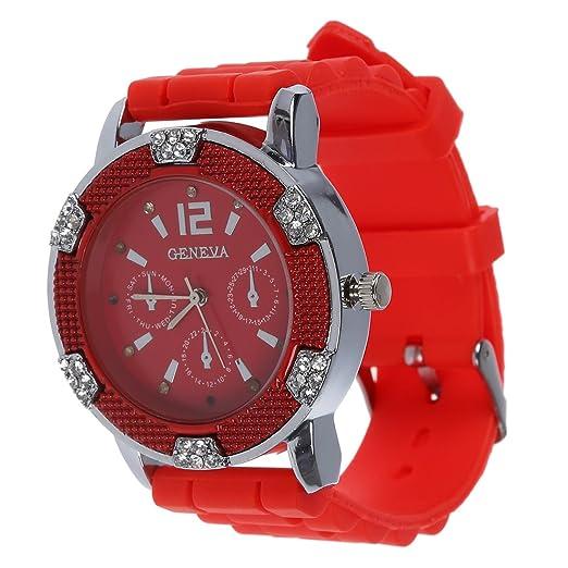 Reloj - Geneva Reloj de pulsera de cuarzo de jalea de silicona de piedra de cristal