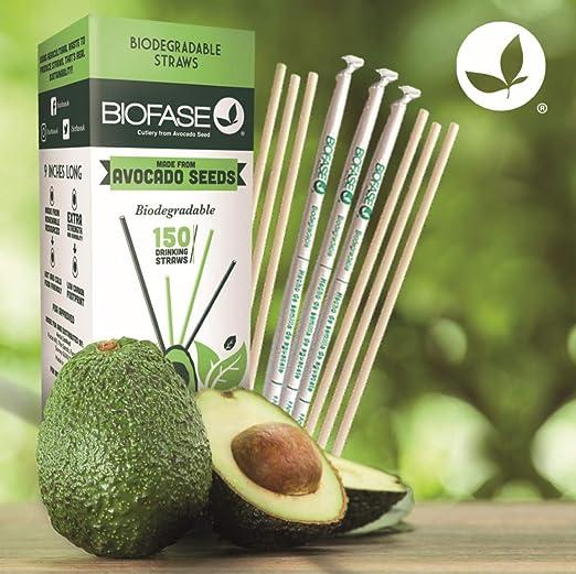 Pajitas biodegradables Biofase Premium, paquete de 150 unidades de ...