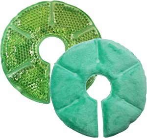 "Breast Therapy Pads Breast Ice Pack, Hot Cold Breastfeeding Gel Pads, Boost Milk Let-Down with Gel Bead Pads, 2 Count (Teal, Small Diameter: 6.7"") (Teal, Large Diameter: 7.5"")"