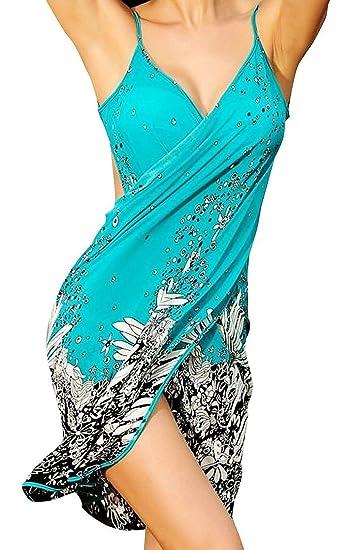81e9f4d72d1c0 Spikerking Women's Fashion Sarongs Style Beachwear Ice Silk Bikini Cover  up,Green
