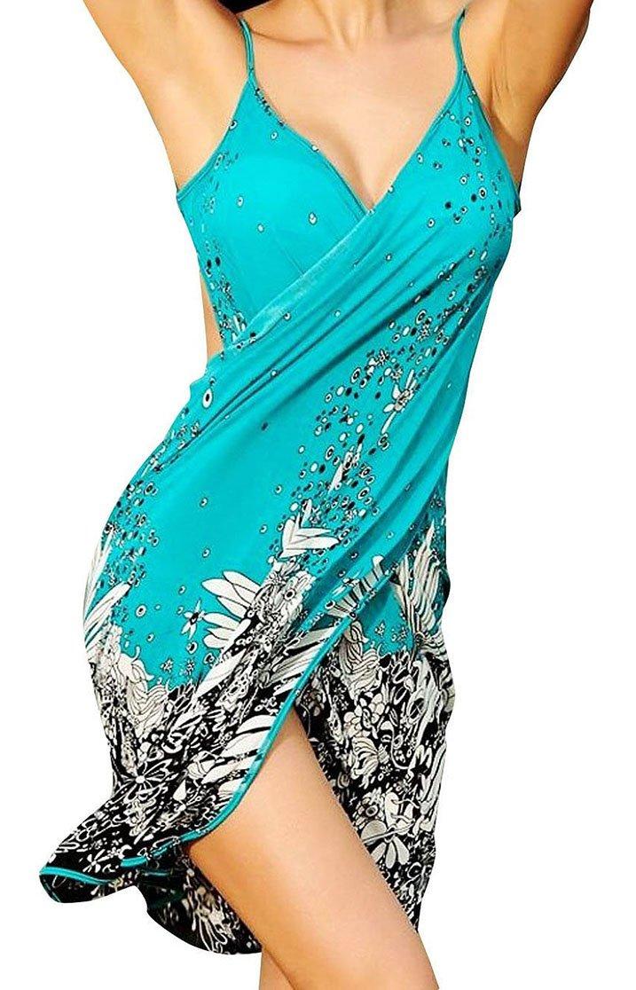 Spikerking Women's Fashion Sarongs style Beachwear Ice Silk Bikini Cover up,Green