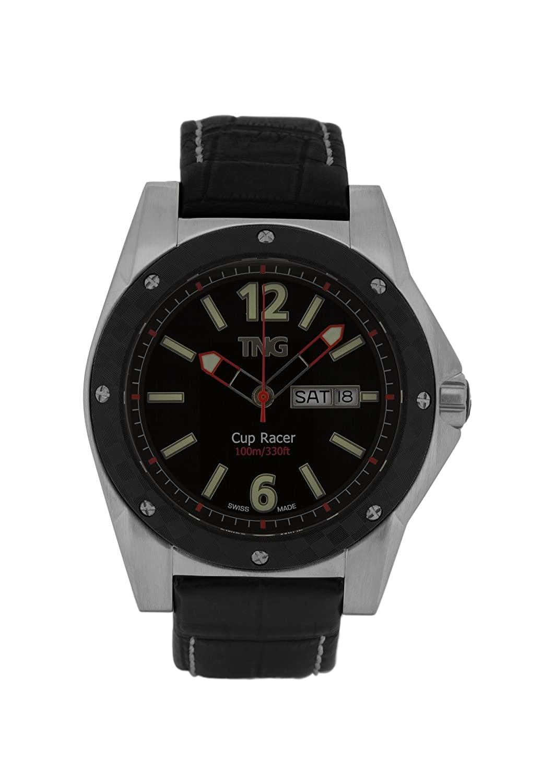 TNG Herren-Armbanduhr Analog Leder Schwarz TG667.30571.02PV