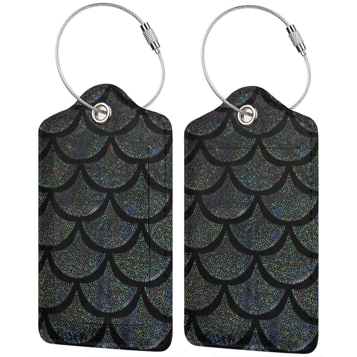 Black Dragon Scale Leather Luggage Tags Personalized Travel Accessories With Privacy Flap