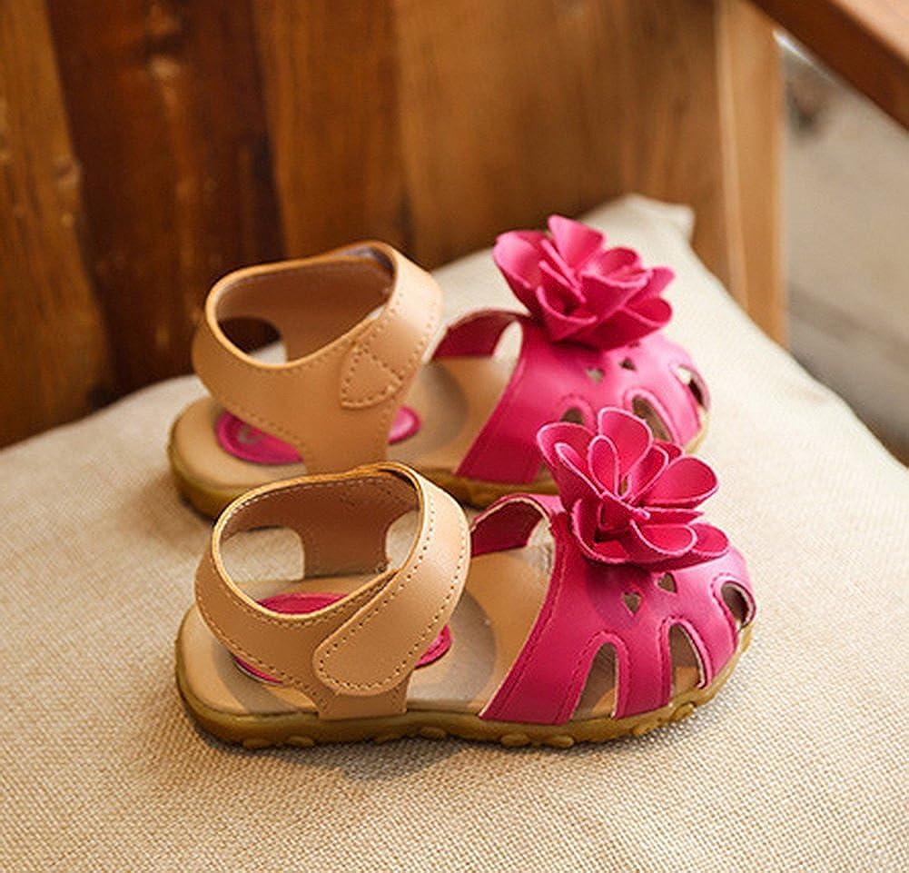 Vokamara Baby Toddler Girls Closed Toe Flower Beach Sandals