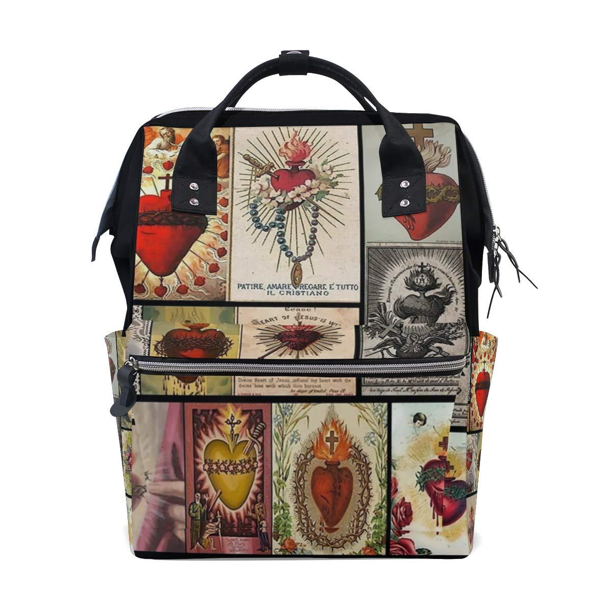 fbce4230dae2 Amazon.com: Sacred Heart Collage Jesus Christ Cross Cove Diaper Bag ...