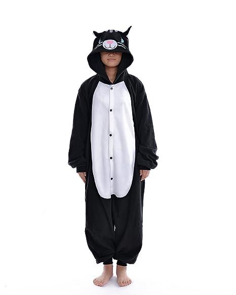 DAYAN Black Cat Unisex Pijamas Adulto Anime Cosplay Ropa Pijamas Franela Hombre Mujer Dormir Animal Pyjama