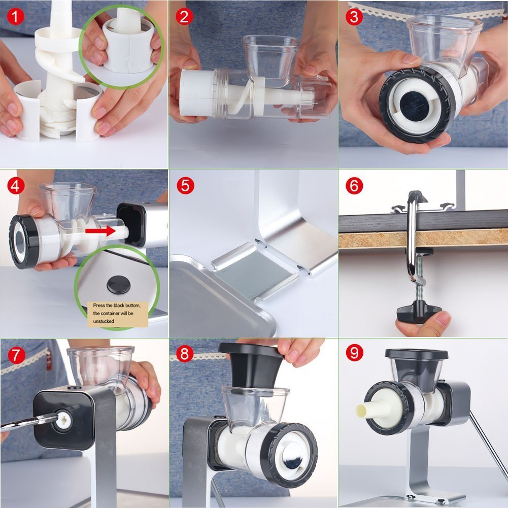 Aoonar Aluminium Alloy Garlic Crusher Nuts Chopper with Sausage Stuffing Maker Manual Meat Grinder with Defrosting Tray