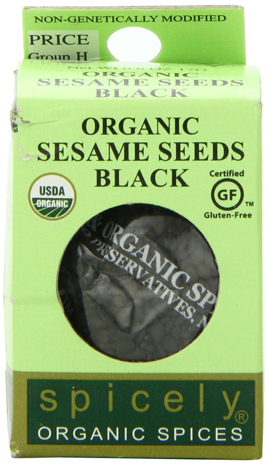 Spicely Organic Sesame Seeds Black Whole 0.45 Ounce ecoBox Certified Gluten Free