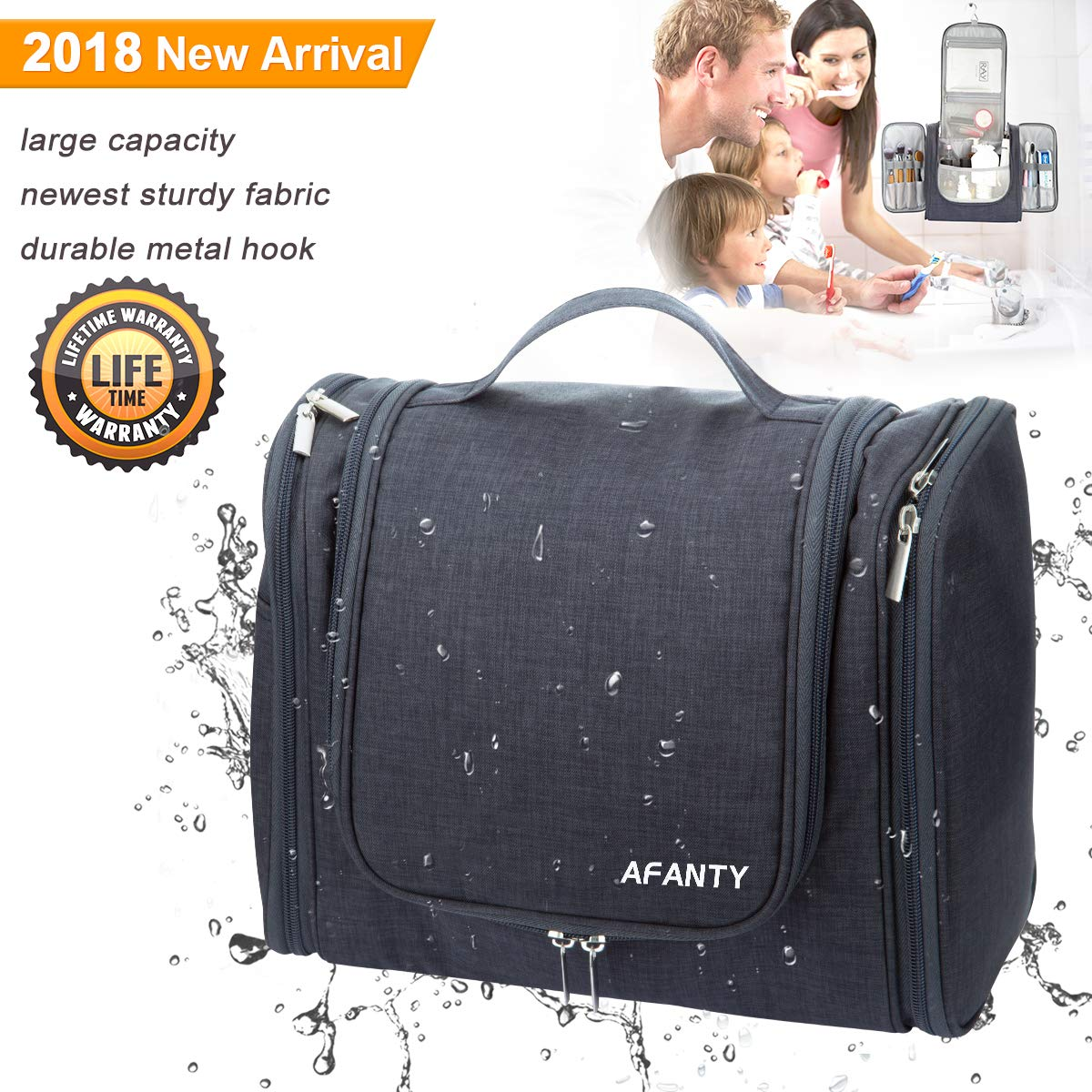 Hanging Toiletry Bag Large For Men and Women Waterproof Expandable Hanging Full Size Bottles Travel Toiletry Bag for Accessories Toiletries Kit Makeup Organizer, Large Travel Bathroom Bag with Hook
