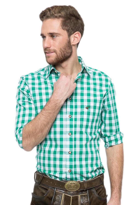 OS-Trachten Herren Trachtenhemd Nico dunkelgrün/weiß H040064