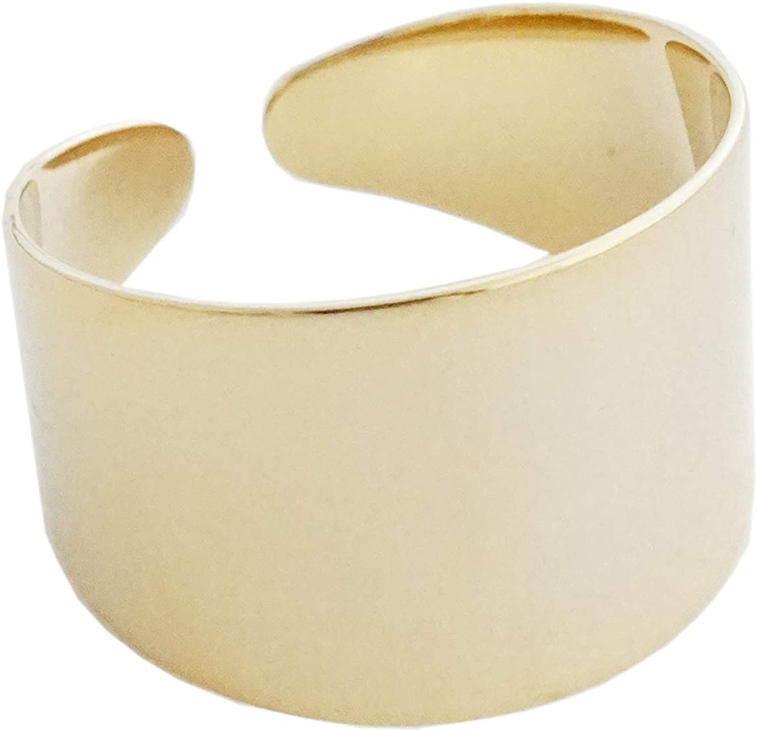 Stackable Silver cuff ring Affordable Gift for Her Boho cocktail ring Textured Wide tube ring Bold 18k Gold Plated ring