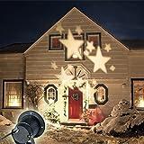 GAXmi LED Paesaggio faretti Fata Stelle Modello Giardino Parete Natale Matrimonio All'aperto Impermeabile Illuminazione proiettata Caldo Bianco