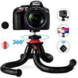 """Camera Phone Tripod, Fotopro 12"""" Flexible Travel Tripod Stand with Bluetooth Remote Control and Phone Mount"""