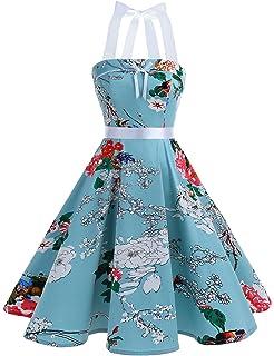 7b6ec83fefef Dresstells Vestito Donna 1950 Vintage con Allacciatura al Collo di Cocktail