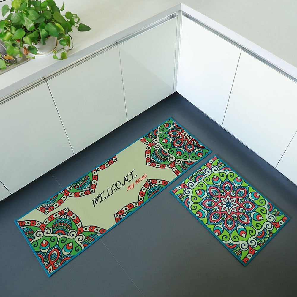 iisutas 2 Piece Non-Slip Kitchen Mat Runner Rug Set Doormat Vintage Design Bohemia Style,Brown (15
