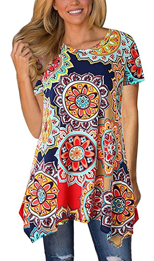 Moskill Summer Tunic Tops for Women Floral Short Sleeve Tshirt Loose Fit(L,Navy Blue)