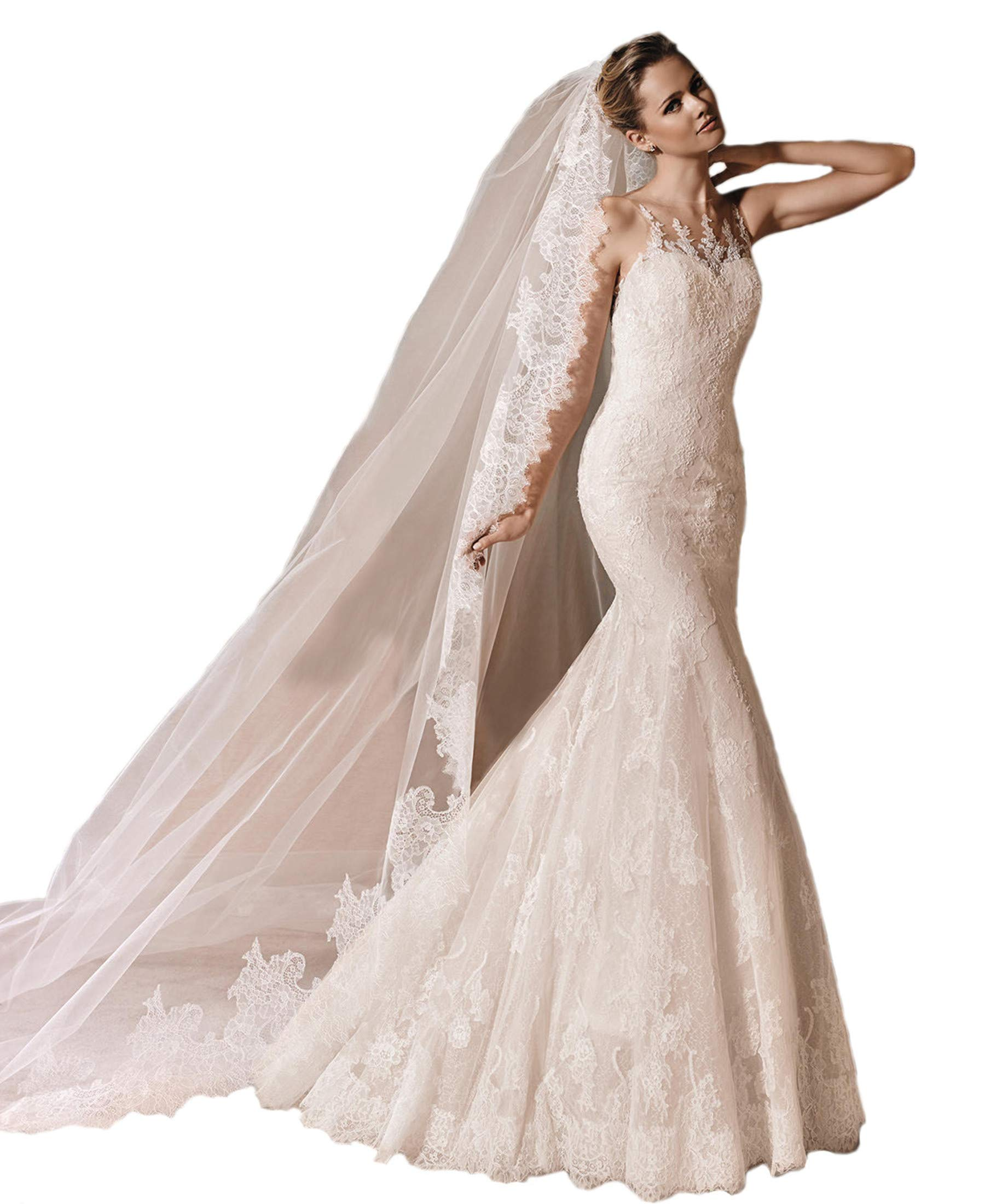 Passat Ivory 1T 3M Long Cathedral Scalloped Soft French Lace bridal veil H18