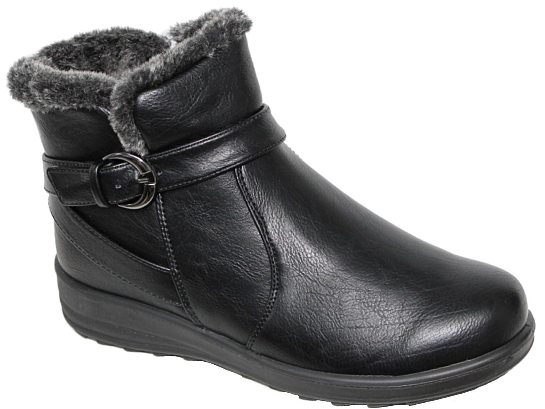 10c2cfbebe8ef Foster Footwear Ladies Cushion Walk Faux Suede Warm Faux Fur Lined Casual  Comfort Ankle Boot Shoe Size 3-8 (8 UK, Black-FL)