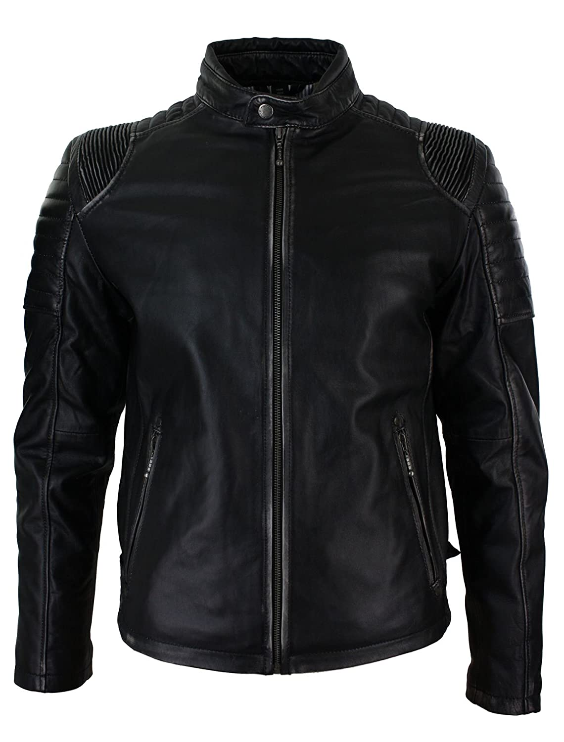 Mens Black Ruboff Washed Vintage Effect Leather Jacket Fitted Biker Style Casual