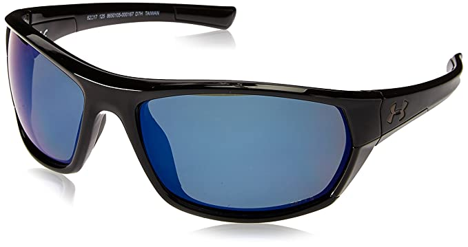 7c7e6ccbff22 Under Armour UA Powerbrake Polarized Wrap Sunglasses, UA Powerbrake Gloss  Black/Black/Offshore Polarized, M/L: Amazon.co.uk: Clothing