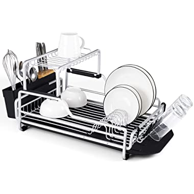 Glotoch Aluminum Dish Drying Rack with Removable Drainer tray, 2 Tier Dish Rack, Cup Holder and Dish Drainer for Kitchen Counter Top, 23 x 13.5 x 11 inch
