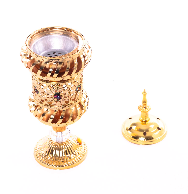 DECO GEMME Quemador de Incienso árabe incensario al Oriente Medio, Cristal Zafiro Quemador de Incienso de Metal: Amazon.es: Hogar