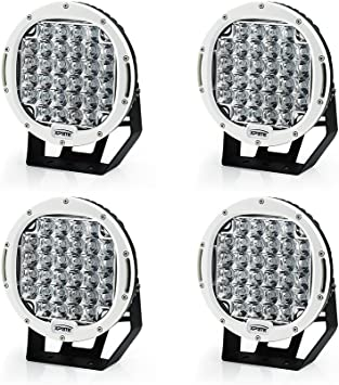 Xprite 96 Watt 9-inch Cree LED Fog Spotlight and Round Work Lamp with Roof Bar Bumper White, 2-Pack