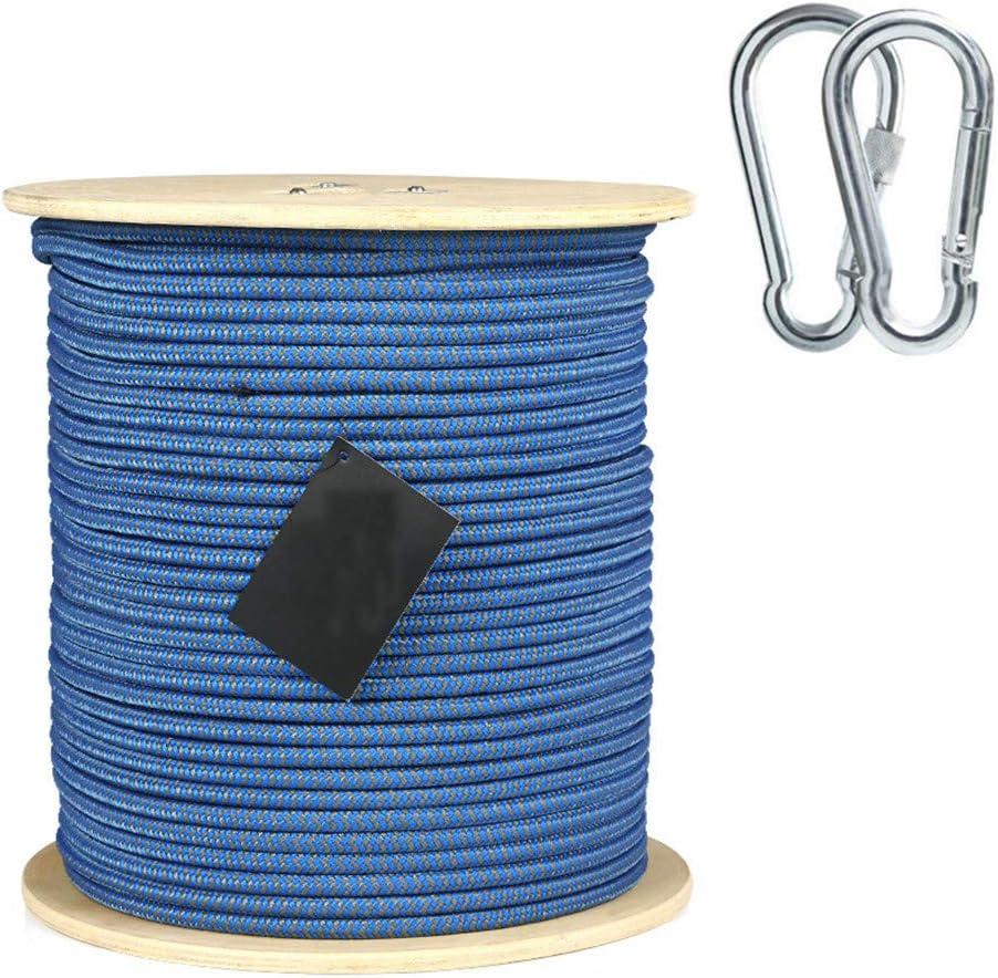 8ミリメートルクライミングロープ、ホームファイア緊急エスケープロープ多機能洗濯物用ハイキング用ケイビングキャンプエンジニアリング救助用具、青,80m  80m