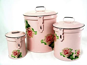 retro vintage canister set kitchen storage canisters e8 decorative containers shabby chic pink enamel
