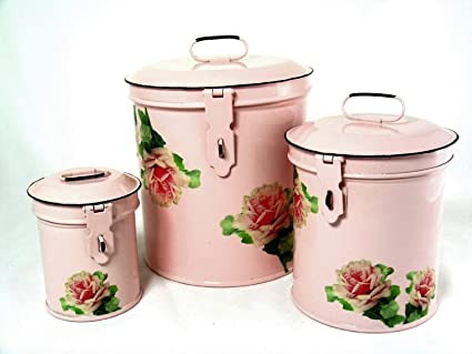 Retro Vintage Canister Set ~ Kitchen Storage Canisters E8 Decorative  Containers ~ Shabby Chic Pink Enamel