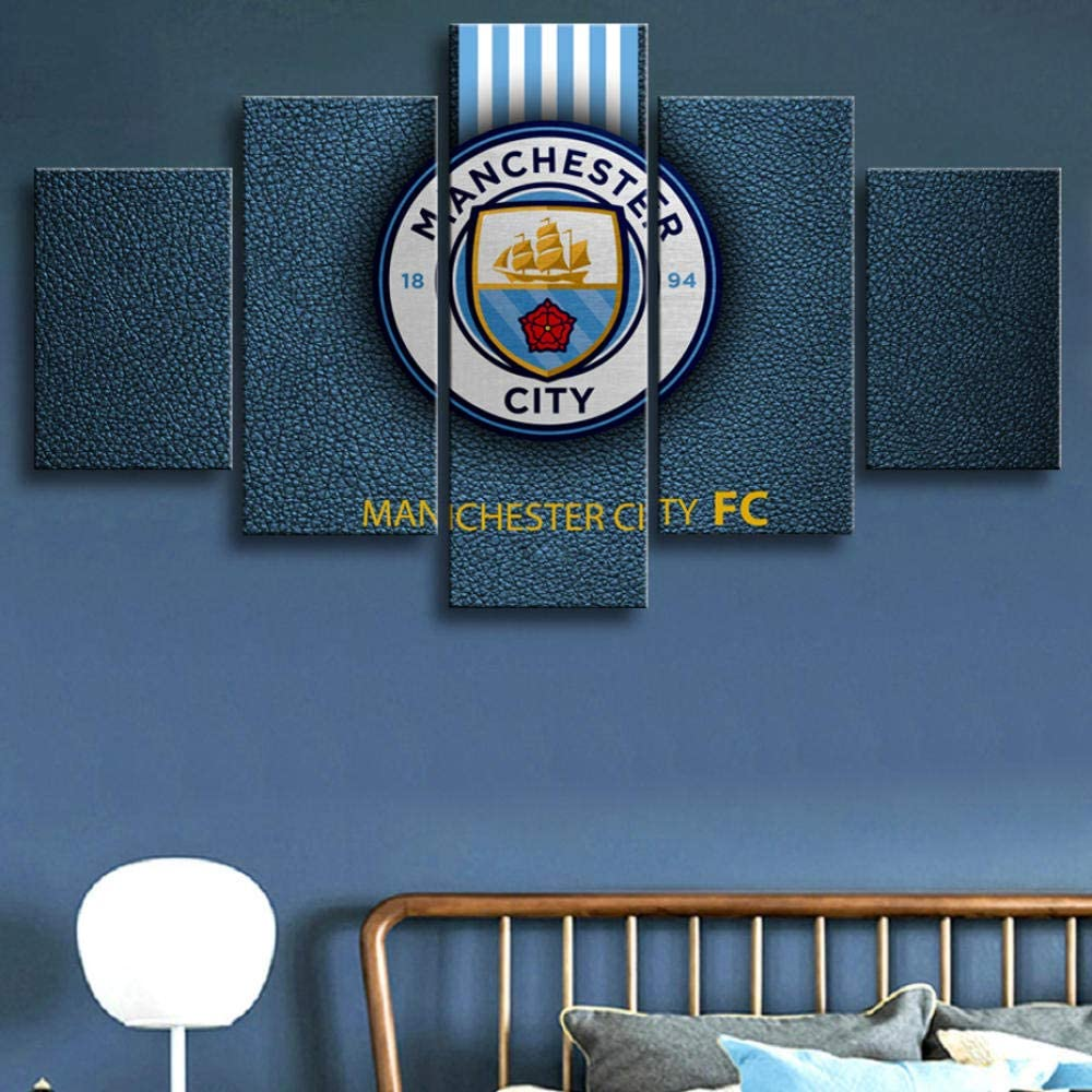 Framed 5 Pieces Premier League Manchester City Football Posters Canvas Paintings Wall Art Prints Pictures Boys Sports Wall Decor poster-150x80 cm
