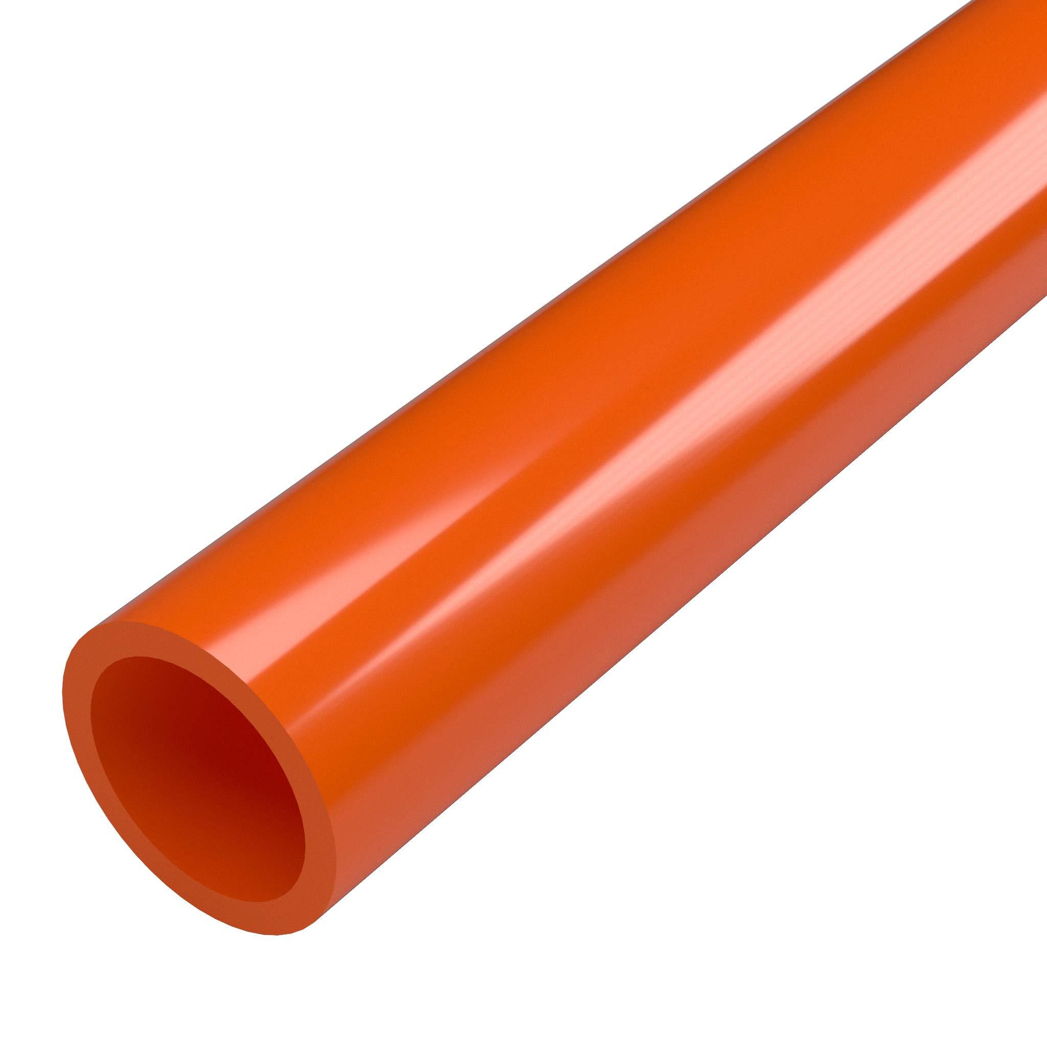 FORMUFIT P114FGP-OR-5 Schedule 40 PVC Pipe, Furniture Grade, 5', 1-1/4'' Size, Orange