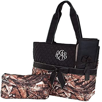 Personalized Diaper Bag Monogram Infants Quilted Camo Diaper Bag with Black  Trim 3 Piece Set Diaper