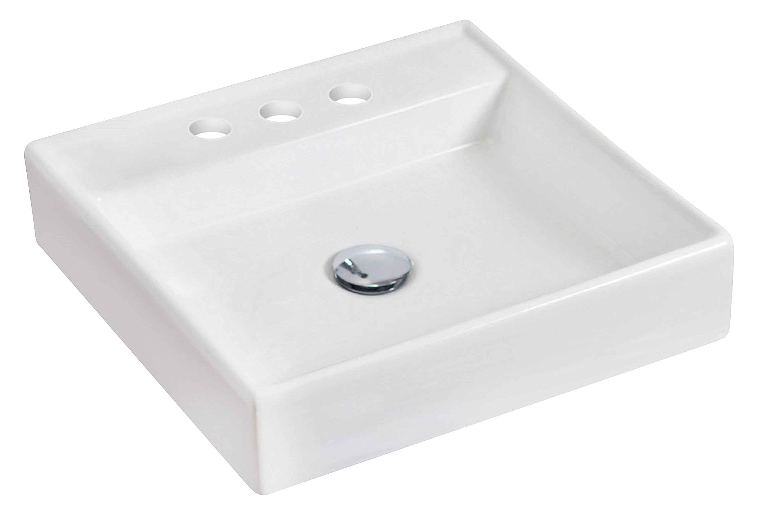 American Imaginations 596   Above Counter Square White Ceramic Vessel with 4-Inch  Centers