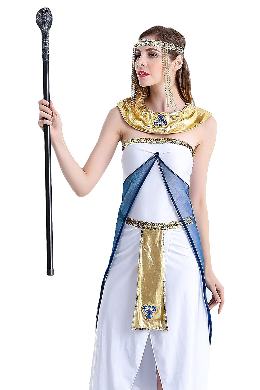 Amazon.com: obtai Mujer Reina de Egipto blanco cosplay ...